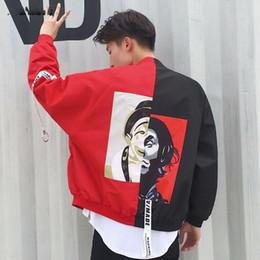 Wholesale Clown Jacket - Men Jacket Clown Print Spliced Color Jackets Outwear Baggy Bomber Male Ribbon Webbing Design Windbreaker High Street