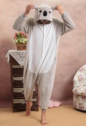 Wholesale flannel pajamas - Koala Unisex Adults Casual Flannel Hooded Pajamas Cosplay Cartoon Cute Animal Sleepwear Leopard For Women Men
