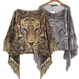 Wholesale Blouse Tigers - Europe tassel wool knitting women cloak fring ladies poncho boat neck glitzy cape tiger printing leopard shawl female loose pullover blouse