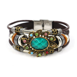 Wholesale Turquoise Flowers Accessories - Infinity Bracelets Fashion Ethnic Features Green Jewelry Wholesale Leather Infinity Charm Bracelet Vintage Accessories Lover Gifts