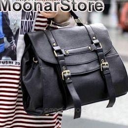 Wholesale Man S Leather Briefcase - Wholesale Fashion Women\'s Britpop PU Leather Purse Handbag Shoulder Messenger Satchel Bag Retro briefcase 2 colors