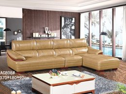 Wholesale Leather Sofa Free Shipping - FREE SHIPPING GENIUINE LEATHER SOFA YELLOW WHITE FASION MODERM LUXURU STYLE LIVING ROOM SIMPLE FURNITURE GOOD QUALITY (1+3+R AC808)