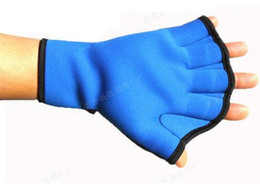 Wholesale Hockey Gloves For Skiing - Wholesale Swim Hand Surfing Frogs Webbed Flippers Gloves AID Paddles Training For Swimming Neoprene Lycra Blue L 24*21cm 168-5