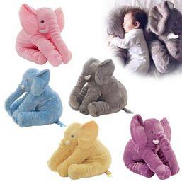 Wholesale Long Cushion Plush - 40cm Elephant Pillow INS Lumbar Pillows Long Nose Sleep Pillow Cushion Elephant Dolls Baby Soft Plush Toys Sleeping Pillow 5 color KKA2747