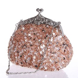 Wholesale Wholesale Beaded Handbags - Fashion Mini Women Clutch Bags Chain Evening Bags Sequins Beaded Ladies Handbags Wedding Bridal Party Purse Bags