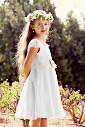 Wholesale Communion Cape - 2016 Knee Length Flower Girls Dresses For wedding Lace Back Keyhole Jewel Cute Pageants Gowns Cape Sleeve Country Custom Made Dresses