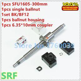 Wholesale Single Ballnut - 16mm Rolled ballsrew RM1605 set:1pcs SFU1605 ball screw L=300mm+1pcs single ballnut+1set BK BF12 end support+1pcs nut holder+1pcs coupler