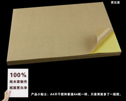 Wholesale Heat Transfer Adhesive - Wholesale-10 Pcs Kraft Sticker Paper Heat Toner Transfer A4 Self Adhesive Brown Kraft Printing Copy Label Paper For Laser Inkjet Printer