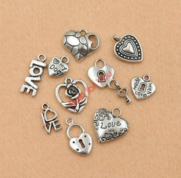 Wholesale Tibetan Mixed Silver Charms Wholesale - Wholesale-Mixed Tibetan Silver Tone Love Heart Made with Love Lock Charm Fashion Pendants Jewelry Diy Accessories Jewelry Making C011