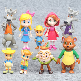 Wholesale Big Red Hood - 9 pcs   lot Goldie and the Bear Goldilocks and the Three Bears The Big Bad Wolf Little Red Riding Hood Fairy-tale Forest Friends Figure Toys