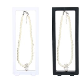 Wholesale White Bracelet Holder - 9*23cm PET Membrane Black white Suspended Floating Display necklace display watch stand earrings holder