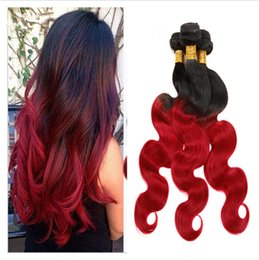 Wholesale 24 Hair Extensions Dark Red - 1B Red Ombre Virgin Malaysian Human Hair Weave Bundles 3Pcs Lot Dark Roots Two Tone Colored Peruvian Hair Extensions Body Wave Double Wefts