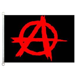 paesi bandiere rosse Sconti Buona bandiera anarchia nera con logo rosso Bandiere Banner 3X5FT-90x150cm Bandiere 100% poliestere paese, 110 gsm ordito tessuto a maglia bandiera esterna
