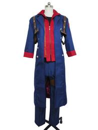 Trajes del diablo azul online-Devil May Cry 4 Nero cazadora azul traje de Cosplay