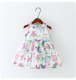 Wholesale Animal Litter - 2016 summer girls bird full print cotton dresses baby chiffon litter bird animal cartoon vest dress BH2337