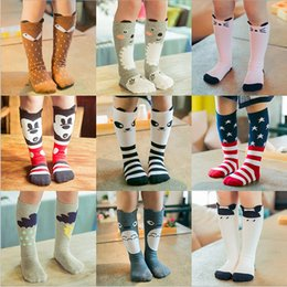 Wholesale Wholesale Cartoon Leggings - 27 Design Girls 2016 INS fox socks stockings DHL children cartoon bear knee high leggings baby chevron leg warmers cotton socks B001