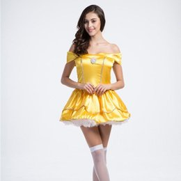 Wholesale Yellow Princess Dress Costume - M-XL Gold Yellow Ball Gown Dresses Bandage Off Shoulder Princess Costumes Women Party Show Role Play Halloween Cosplay Clothing