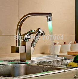 Wholesale Double Sink Kitchen Faucet - Wholesale- Deck Mounted Brushed Nickel Double Spout Kitchen Faucet LED Pull Out Kitchen Sink Mixer Taps