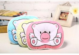 Wholesale Head Neck Protection Pillow - Hot 100% Cotton Baby Pillow Infant Bedding Print Bear Oval Shape Cartoon Shaping Little Foam Neck Support Preventing Flat Head Syndrome