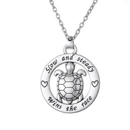 Wholesale Imitation Jewels - Free shipping Dropshipping Slow And Steady Wins The Race Tortoise Circle Affirmation Pendant Inspirational Word Necklace Animal Turtle Jewel
