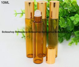 Wholesale Cheap Hot Rollers - Cheap price Refillable 10ml amber perfume glass roll on bottle with stainless steel roller for essential oil