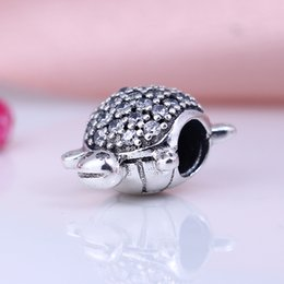 Wholesale tortoise beads - New Real 925 Sterling Silver Not Plated tortoise Pave CZ Charms European Charms Beads Fit Pandora Bracelet DIY Jewelry