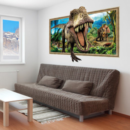Wholesale 3d Wall Pictures - New 3D Dinosaur Running In From Picture Wall Sticker Mural Removable PVC Removable Animal Wall Decal for Living Room Home Decoration