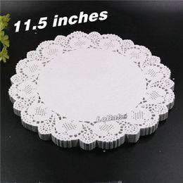 Wholesale White Paper Doilies - Wholesale- (160pcs pack) New 11.5 inches round flower shape white hollow design paper lace doilies placemat for kitchen set de table