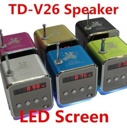 Wholesale Sd Sound Digital Amplifier - TD-V26 Mini Portable Micro SD TF Card USB Disk Speaker MP3 Music Player Amplifier Stereo Speakers With FM Radio Digital LED Display