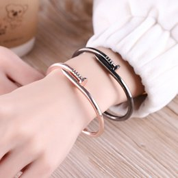 Wholesale Titanium Jewellery Wholesale - Titanium Bangle Bracelet Jewelry Gold Silver Rose Gold Black Stainless Steel Nail Bracelets for Women Fashion Jewellery