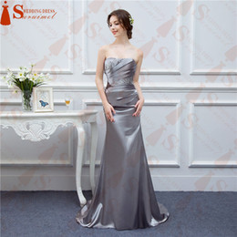Wholesale Cheap Silk Dresses - Silver Gray Evening Dresses Long Silk Satin Mermaid Shining Crystals Beaded Cheap Formal Evening Gown Prom Real Photos Free Ship