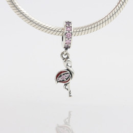 Wholesale Loose Cz - Fashion Ostrich Animal Charm 925 Silver Pandora Style European Pink CZ Loose Beads for Snake Safety Chain Fit DIY Charm Bracelet Jewelry