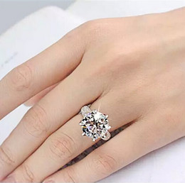 Wholesale Sized Rings - Real silver plated ring 8 Crown AAA CZ Diamond Luxury Engagement Wedding Rings For Women size 5-11 fashion jewelry