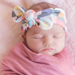Wholesale Brown Headband Elastic - New Cotton Baby knot headband Floral Print headwarp for Girl DIY Toddler Elastic hair band knot head bands, Turban Knitted headband