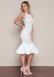 Wholesale Evening Midi Dresses - Women's fashion sexy summer new hip sweet Fishtail flounced lace sleeveless vest skirt evening party wedding slim sexy dress