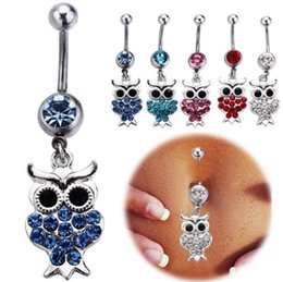 Wholesale Kawaii Plate - Kawaii Owl Belly Button Rings mix 316L Surgical Steel Fashion Navel Rings Dangle for Women Belly Piercing Body Jewelry set