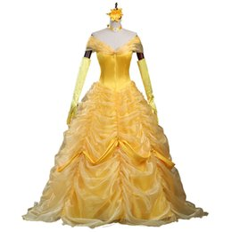 Wholesale Belle Beauty Beast Costumes Adults - Cartoon Cosplay Women Halloween Princess Costume beauty and the beast Belle Dress Adult Princess Belle Costume