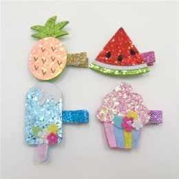 Wholesale Artificial Ice - Glitter Metallic Fruit Food Felt Hair Clips Pineapple Watermelon Hairpins Ice Cream Water Melon Girl Barrettes Grips Blue Ice Pop Hair Pinch