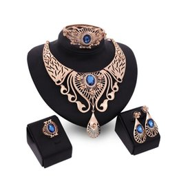 Wholesale brown crystal necklace - Fashion wedding Jewelry set for women party Red Blue Brown Rhinestone Crystal Hollow Out Necklace Earring Ring Bracelet Charm Jewelry Set
