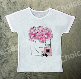 Wholesale Perfume L - Track Ship+New Vintage Retro Fresh T-shirt Tee Sending You a Bag of Fresh Pink Flower and Perfume Lipstick 1171