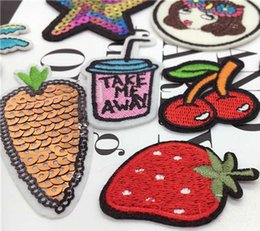 Wholesale Sewing Tools Cartoons - Fruit Cartoon embroidery Home Textiles Apparel Fabric And Sewing Tools Cherry Sew on patches DIY SEWING CRAFT Clothing bag Accessories