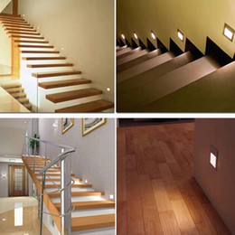 Wholesale Embedded Wall Lighting - Hot Sell new 1.5W LED Corner Wall Lamp 85-265V LED Footlight Embedded LED Stairs Step Night Light LED COB Stair Wall Lighting