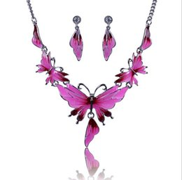 Wholesale Vintage Rhinestone Butterfly Jewelry - Women's Vintage Alloy Austrian Crystal Earrings Enamel 4 Color Butterfly Choker Necklace Jewelry Sets Chain Necklace Earrings sets QD