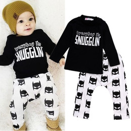 Wholesale Black Girl T Shirts - Newborn Toddler Baby Boys Batman snugglin letter printed kids boy girl Clothes Long Sleeve cotton T-shirt+Pants Outfits 0-24M free shipping