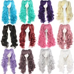 Wholesale Pink Ponytail Wig Long - ynthetic Hair Wigs MapofBeauty Long wavy Cosplay wigs purple pink black brown blue white 12 Colors 2 ponytails 70CM Heat Resistant Synthe...