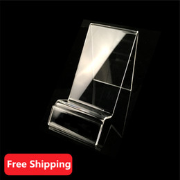 Wholesale Display Huawei - 10pcs Acrylic cell phone mobile phone display Stand Holder For iPhone 5 5S 6 6S GPS iPod HTC Huawei Mobile Cell Phone Holder