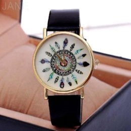 Wholesale Peacock Feather Pins - Charm Women Vintage Feather Dial Leather Band Quartz Analog Unique Wrist Watches Peacock Ladies Watch Clock Relogio 0150