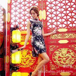 Wholesale Sexy Cheongsam Mini - CHY New Ladies Sexy cheongsam black cherry slim dress manufacturers selling 2632 Auto Club