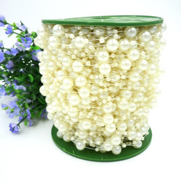 Wholesale Roll Pearl String - 75M Roll White Pearl Beads Chain String Strand DIY Craft Garland For Bouquet Party Wedding Bridal Flower Headdress Beaded Jewelry DHL Ship