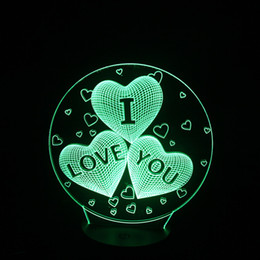 Wholesale Led Lights For Table Decorations - USB Lights Lamp Led Heart Love Touch Table Lamp 3d for Fairy Wedding decoration Night Lights and Gifts Valentine's I Love You